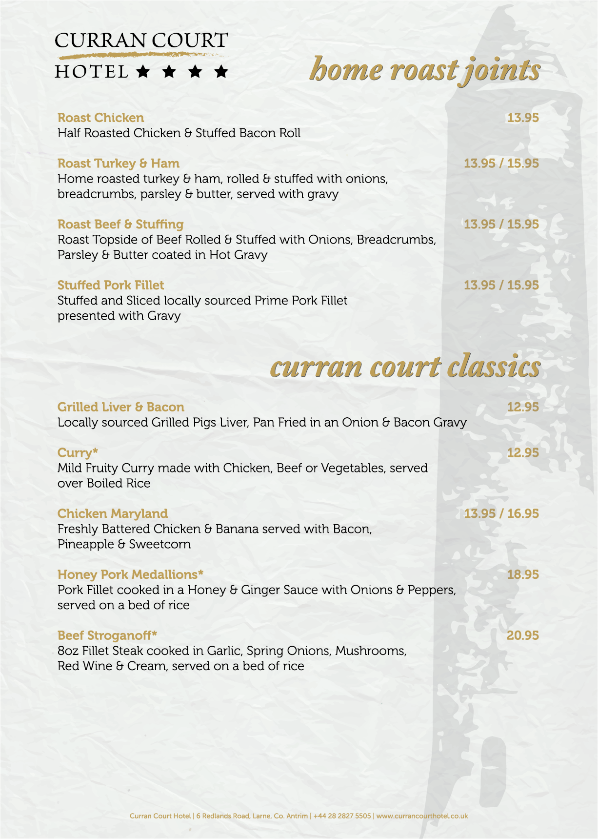 Curran Court Hotel | Evening Menu 3