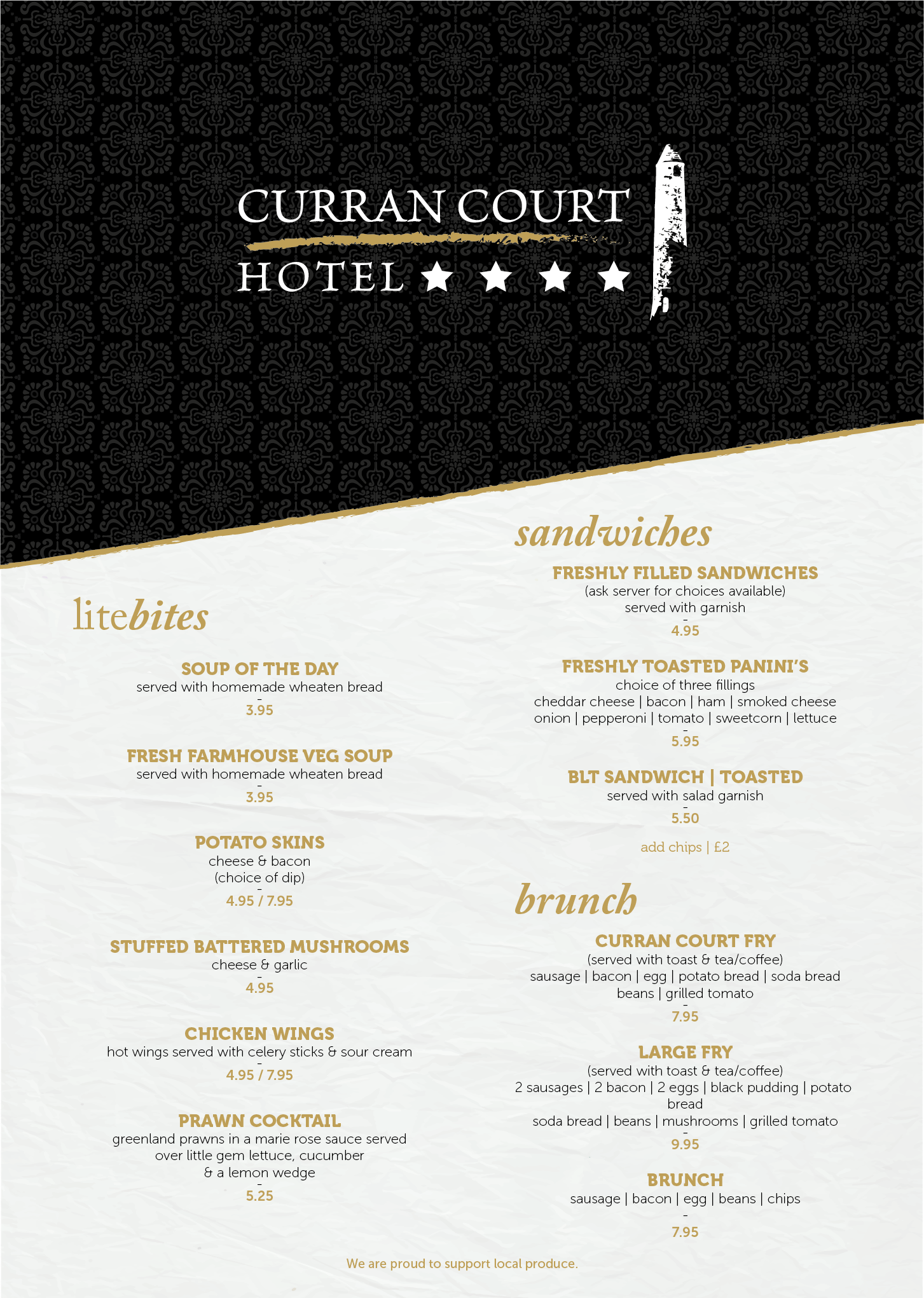 Curran Court Hotel Lunch Menu